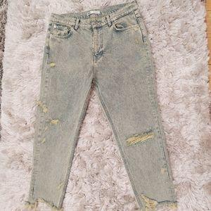 Zara High Rise Distressed Acid Wash Jeans 34